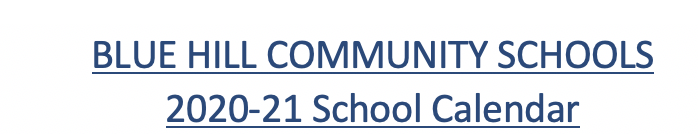 Blue Hill Community Schools 2020-21 Calendar