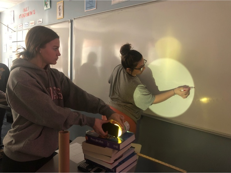 Geometry students using similar figures to estimate light projections on the wall.