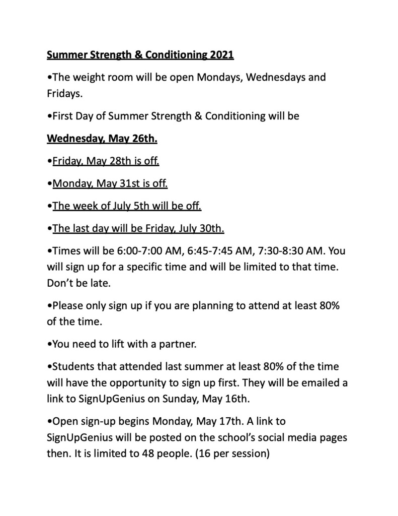 Summer Strength & Conditioning 2021