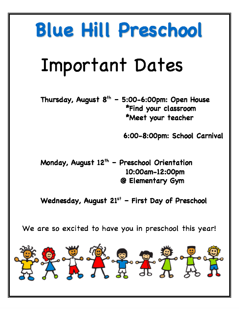 PreK Important Dates
